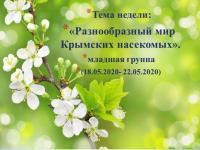 """ДИСТАНЦИОННОЕ ОБУЧЕНИЕ. Тема недели: """"Разнообразный мир крымских насекомых"""" (младшая группа) с 18.05. по 22.05.2020"""