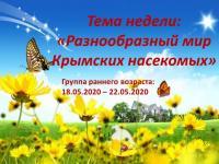 """ДИСТАНЦИОННОЕ ОБУЧЕНИЕ. Тема недели: """"Разнообразный мир крымских насекомых"""" (ранний возраст) с 18.05. по 22.05.2020"""